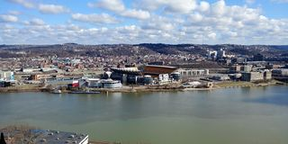 Heinz Field from Mt Washington Allegheny River Pgh Pa. Washington pgh science blue skies carnegie center views allegheny river pnc park royalty free stock image