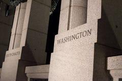 Washington Pillar au mémorial de WWII Images libres de droits