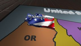 Washington pull out from USA states abbreviations map. State Washington pull out from USA map with american flag on background. A map of the US showing the two stock video footage