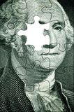 Washington puzzle. USA president(no left eye) as concept for US dollar fall(special photo f/x Royalty Free Stock Photo