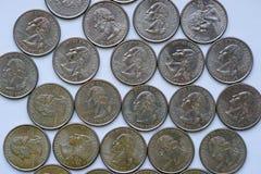 Washington Quarter = ¼ Dollar stock photos