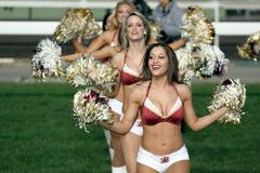 Washington Redskins Cheerleaders. A spectacular closing ceremony on turf  have Washington Redskins Cheerleaders from the USA Royalty Free Stock Photo