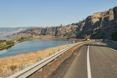 Washington Route 14 in Columbia River Gorge Royalty Free Stock Photos