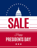 Washington`s Birthday discount banner. Vector. Presidents Day sale banner with Washington DC White house and abstract american flag background. Washington`s Stock Photos