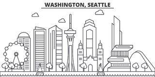 Washington, Seattle architecture line skyline illustration. Linear vector cityscape with famous landmarks, city sights royalty free illustration