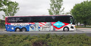 Washington Sightseeing Bus. Tourists touring Washington By Gray Line Sightseeing bus Stock Image