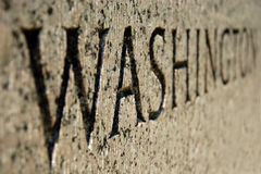 Washington sign on World War II memorial in DC Stock Photos