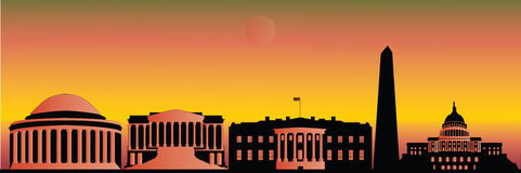Washington skyline by night Royalty Free Stock Photos