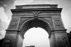 The Washington Square Arch with sky and vignette frame in black and white style. Washington Square Park, New York Stock Images