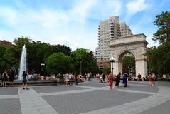 Washington Square New York. With fountain on blue sky Royalty Free Stock Photos
