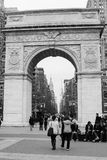 Washington Square Park, New York City. A view of the arch in Washington Square Park, New York City; through the arch you can see the Empire State Building in the Stock Photography