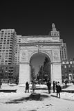 Washington square park in snow Stock Photo