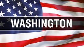 Washington-Stadt auf einem USA-Flaggenhintergrund, Wiedergabe 3D Staaten von Amerika fahnenschwenkend im Wind Stolze amerikanisch lizenzfreie abbildung