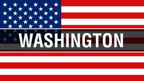 Washington-Stadt auf einem USA-Flaggenhintergrund, Wiedergabe 3D Staaten von Amerika fahnenschwenkend im Wind Stolze amerikanisch stock abbildung