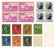Washington Stamps. U.S. Postage Stamps commemorating the National Capital — Washington — and also President George Washington. Image also includes some blank Stock Photo