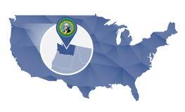 Washington State ampliou no mapa do Estados Unidos ilustração stock