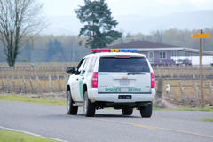 Washington State Border Patrol. Rear view of a Washington State border patrol vehicle patrolling the Canadian and Washington border stock photo