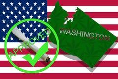 Washington State on cannabis background. Drug policy. Legalization of marijuana on USA flag, Stock Photography