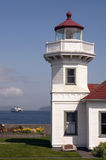 Washington State Coastal Lighthouse Nautical Beacon Ferry Boat Stock Photo