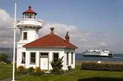 Washington State Coastal Lighthouse Nautical Beacon Ferry Boat T Royalty Free Stock Images