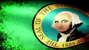 Washington State Flag Waving, grunge look stock video footage