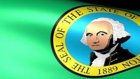 Washington State Flag Waving. Video footage stock footage