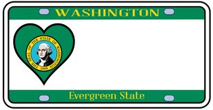 Washington State License Plate Fotografie Stock