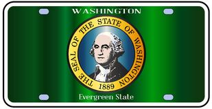 Washington State License Plate Flag Photographie stock