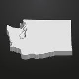 Washington State map in gray on a black background 3d Royalty Free Stock Image