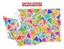 Washington State Map - Mosaic of Color Triangles royalty free illustration