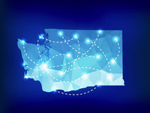 Washington state map polygonal with spotlights places Stock Image