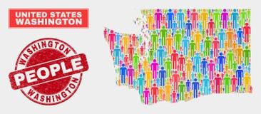 Washington State Map Population Demographics e filigrana suja ilustração do vetor