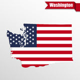 Washington State map with US flag inside and ribbon Stock Photography
