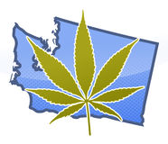Washington State Mary J. Marijuana leaf super imposed over the great state of Washington State, United States royalty free illustration