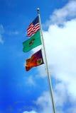 Washington State Park Centennial Flag. The Washington state park centennial flag flying below the Washington state flag, and the USA flag on a flagpole under stock photography
