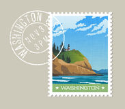 Washington State postage stamp design of rugged shoreline and lighthouse. Washington State postage stamp design. Vector illustration of rugged shoreline and Stock Photos