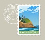 Washington State postage stamp design of rugged shoreline and lighthouse. Stock Photos