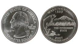 Washington State Quarter coin. On white background Stock Photos