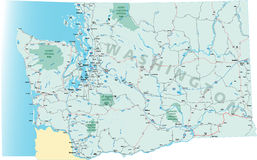 Washington State Road Map. With Interstates, U.S. Highways and state roads. All elements on separate layers for easy editing Royalty Free Illustration