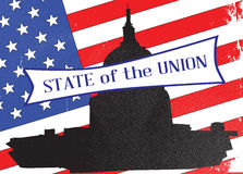 Washington State of the Union. Washingto icon with starts and stripes background with the legend State of the Union Stock Image