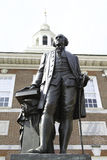 Washington Statue. In front of Independence Hall at stock photo