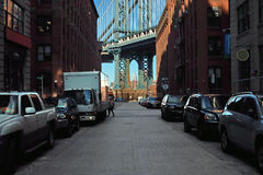 Washington Street, DUMBO, New York USA. Empire State Building seen here in afternoon Washington Street view of the Manhattan Bridge, DUMBO, Brooklyn, New York stock photos