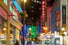 Washington Street principal à Boston du centre la nuit Images stock