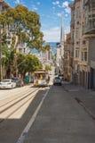 Washington Street in San Francisco. San Franciasco,California,USA - July 22, 2014 : Washington Street with the Bay in the background Royalty Free Stock Images