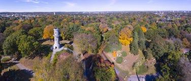 Mount Auburn Cemetery, Watertown, Massachusetts, USA. Washington Tower in Mount Auburn Cemetery in fall, Watertown, Greater Boston Area, Massachusetts, USA stock photo