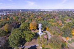 Mount Auburn Cemetery, Watertown, Massachusetts, USA. Washington Tower in Mount Auburn Cemetery in fall, Watertown, Greater Boston Area, Massachusetts, USA stock image