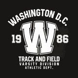 Washington typography for t-shirt print. Track and field, athletic t-shirt graphics. Vector Stock Images