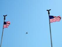 Washington Union Station señala 2010 por medio de una bandera Foto de archivo libre de regalías