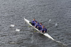 Washington Univerisity races in the Head of Charles Regatta Men's Championship Fours Stock Images