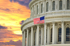 Washington US Capitol on dramatic sky background Royalty Free Stock Images